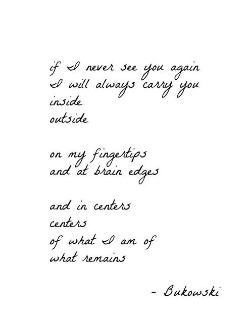 If I Never See You Again Bukowski Truth Katherine Owen